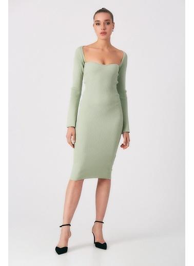 Robin Kol Detaylı Triko Elbise Mint Yeşil